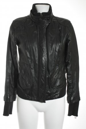 Street One Lederjacke schwarz Materialmix-Look