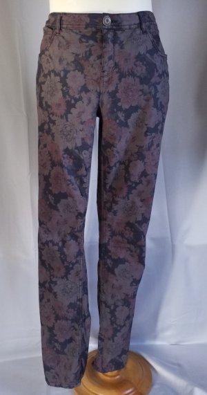 Street One,leichte Jeans,Stile Yulia,Blütenmotiv,enges Bein,mittelhoher Bund,grau-rose,Gr. 44