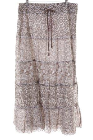 Street One Falda larga blanco puro-marrón claro estampado de animales look Boho