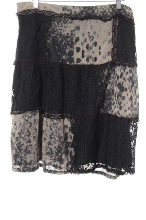 Street One Falda midi negro-beige estampado de leopardo look Street-Style