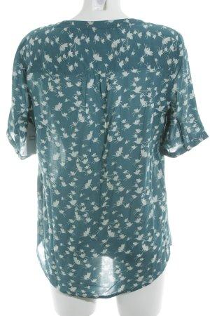 Street One Oversized Bluse hellbeige-kadettblau Motivdruck Casual-Look