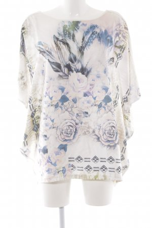 Street One Oversized Shirt weiß-blau florales Muster Casual-Look