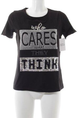 Street One Print-Shirt schwarz-silberfarben Glitzer-Optik