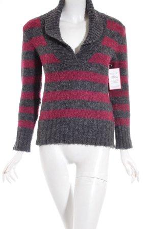 Street One Pullover grau-magenta Streifenmuster Casual-Look