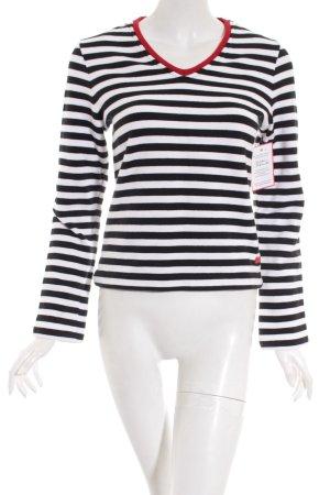 Street One Pullover weiß-schwarz Streifenmuster Casual-Look