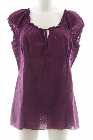 Street One Ruffled Blouse violet floral pattern casual look