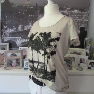 Street One * Schönes Sommer Shirt * beige-sand-schwarz Pailletten Palmen * 42
