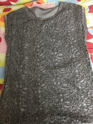 Street One Shirt grau mit Häkelspitze Gr.38 top