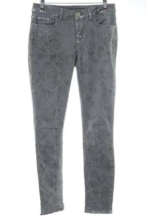 Street One Skinny Jeans hellgrau abstrakter Druck Casual-Look