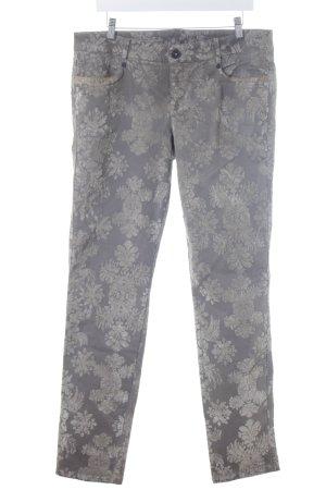 Street One Slim Jeans graubraun-beige florales Muster Samt-Optik