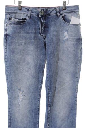 Street One Slim Jeans hellblau-dunkelblau Batikmuster Street-Fashion-Look