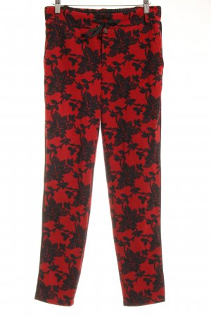 Street One Stoffhose schwarz-rot florales Muster Casual-Look