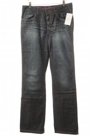 Street One Straight-Leg Jeans dunkelblau Used-Optik