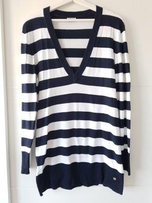 STREET ONE Streifen-Pullover, blau/weiß, Gr.44, langer Schnitt