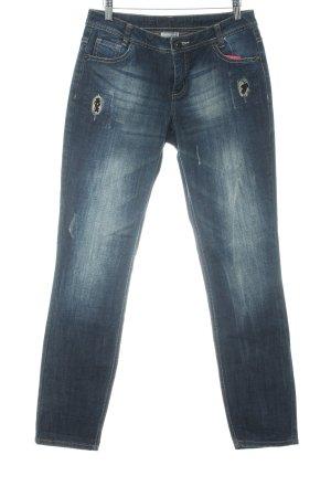 Street One Jeans stretch bleu Ornements pailleté