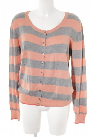 Street One Strick Cardigan hellgrau-apricot Streifenmuster Casual-Look