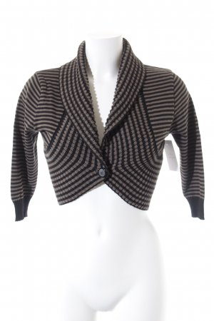 Street One Strickbolero taupe-schwarz Ringelmuster Business-Look