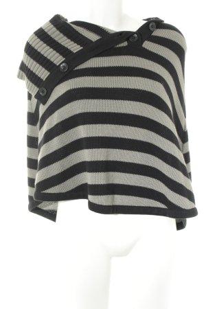 Street One Gebreide poncho zwart-grijs gestreept patroon casual uitstraling