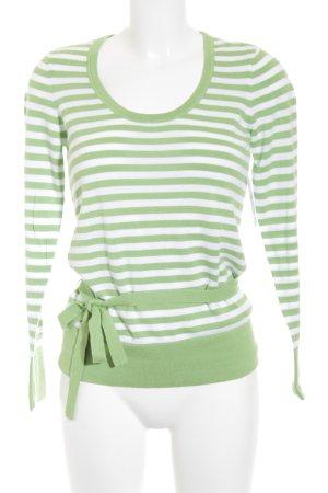 Street One Strickpullover hellgrün-wollweiß Streifenmuster klassischer Stil