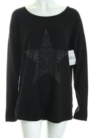 Street One Strickpullover schwarz-silberfarben Sternenmuster Casual-Look