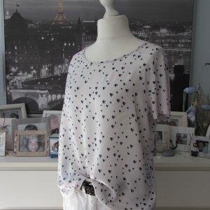 Street One * Süßes Blusenshirt * weiß-dunkelblau Herzchen * 44