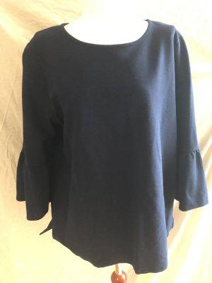 Street One Sweater Tulpenärmel Volants 44 Marineblau