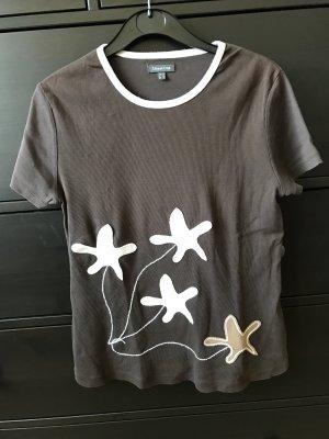 Street One T-Shirt braun mit Blumen Stickerei 40