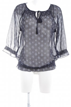 Street One Transparante blouse donkerblauw grafisch patroon