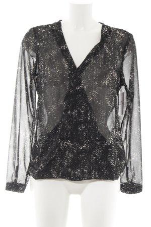 Street One Transparenz-Bluse schwarz-weiß Punktemuster Casual-Look