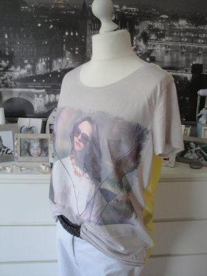 Street One * Traum Sommer Shirt * gelb-grau Fotoprint semitransparent * 44 TOP