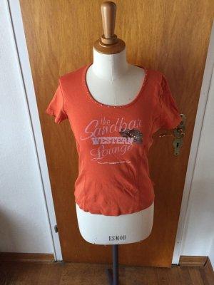 Street One tshirt Orange Western Cowboy Gr 40 wie neu