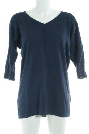 Street One V-Ausschnitt-Pullover dunkelblau Casual-Look