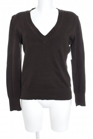 Street One V-Ausschnitt-Pullover dunkelbraun Casual-Look