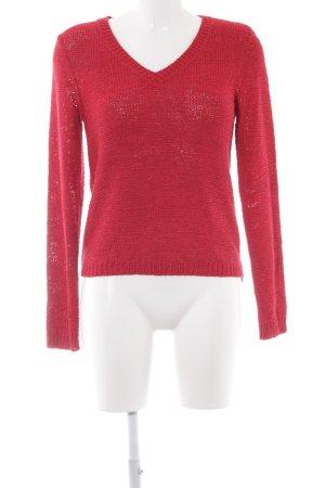 Street One V-Ausschnitt-Pullover dunkelrot Casual-Look