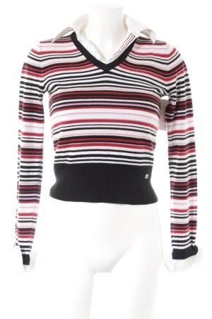 Street One V-Ausschnitt-Pullover Streifenmuster Casual-Look