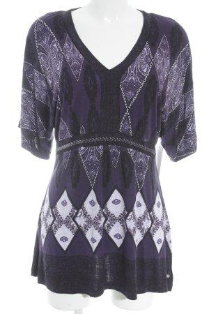 Street One V-hals shirt donkerpaars-mauve Patroon-mengeling extravagante stijl