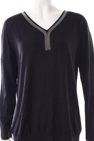 Street One V-Ausschnitt-Shirt schwarz Glitzer-Optik