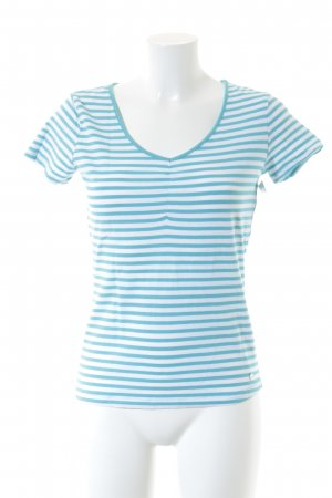Street One V-Ausschnitt-Shirt weiß-türkis Streifenmuster klassischer Stil