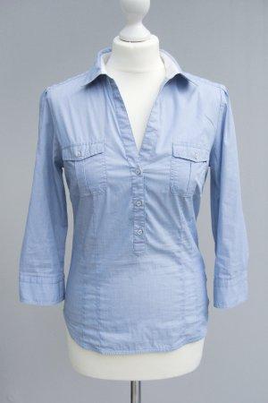 Streifen Bluse von ZARA BASIC - blau weiss gestreift - Gr. M