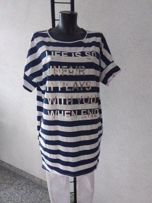 Made in Italy Robe de plage blanc-bleu