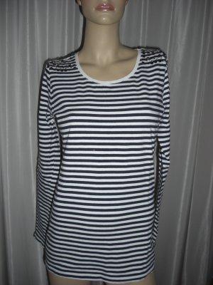 Long Sweater dark blue-white cotton