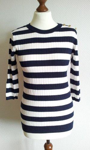 Streifen-Pullover in 38, Marine-Blau / Weiß, Rippstruktur & goldene Knöpfe