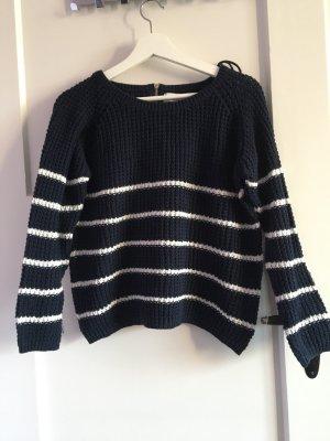 Streifen Pullover in blau-weiß mit Reißverschluss hinten