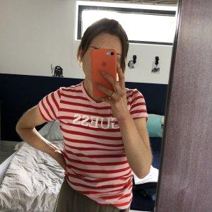 Guess Gestreept shirt donkerrood-roze