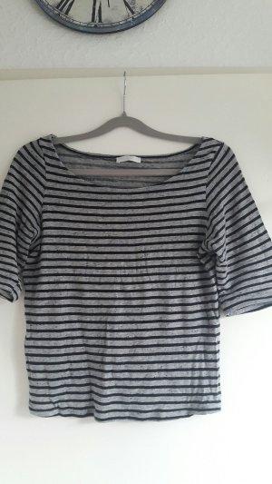 Streifen Shirt Promod halbarm grau schwarz, Gr. 36/38