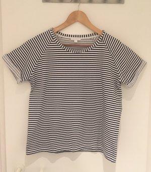 COS T-shirt rayé bleu foncé-blanc coton