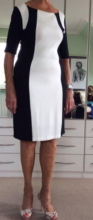 Ashley Brooke Vestido ceñido de tubo negro-blanco fibra textil