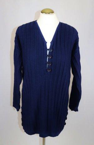 Streifen Strick Long Pullover Camel ShopGröße S 36 Dunkelblau Blau V- Neck Knopfleiste Pulli Kleid Strickkleid Mini