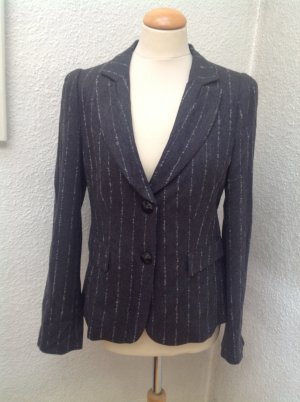 Armani Collezioni Wool Blazer anthracite-silver-colored mixture fibre