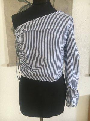 Streifenbluse Bluse mit streifen blau weiss gestreift 34 36 Xs S auffälliger Reissverschluss NEU Blogger Instagram  Top